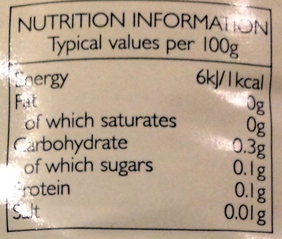 White wine vinegar - Nutrition facts