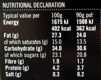 2 cheesecakes au chocolat & vanille de madagascar - Nutrition facts