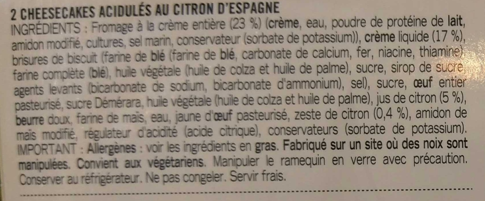 Le cheesecake citron - Ingredients - fr