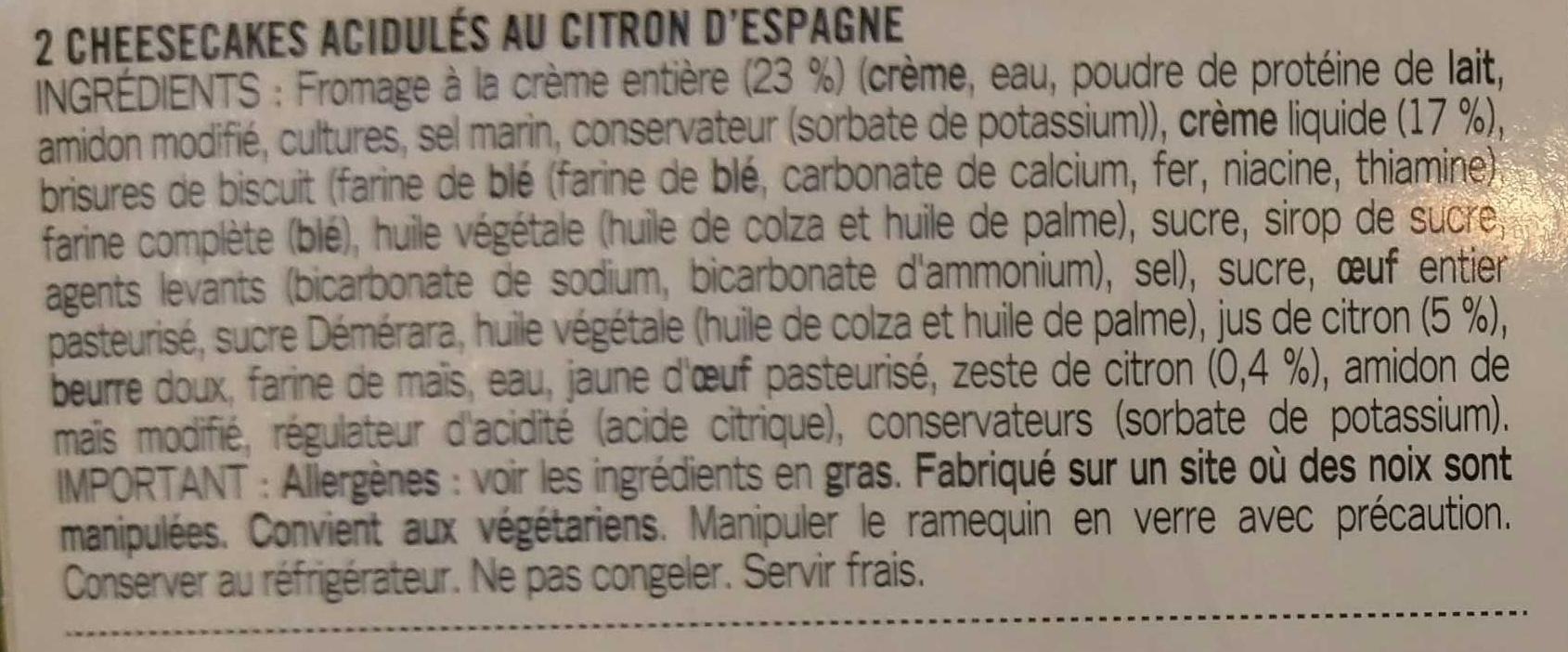 Cheesecakes au Citron - Ingrediënten