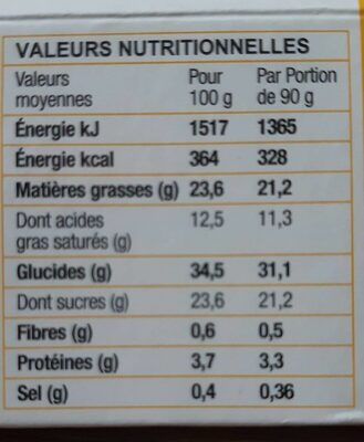 Le cheesecake citron - Nutrition facts - fr