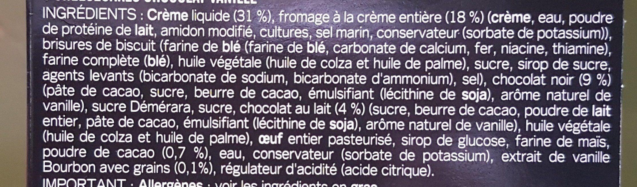 4 cheesecakes au chocolat & vanille de madagascar - Ingrediënten - fr