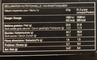 Le Dessert Gourmand au Chocolat Caramel Salé - Nährwertangaben - de