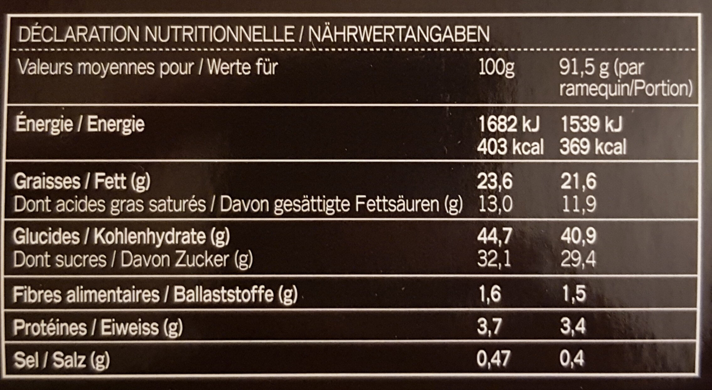 GÜ Desserts - Nutrition facts - fr