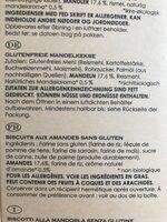 Almond Cookies Glutenfri Ø - Ingrediënten - fr