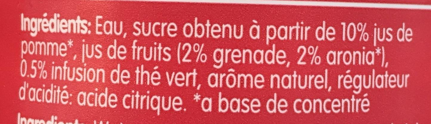 Grenade & Thé Vert - Ingredients - fr