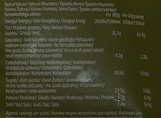 Chips de betterave, panais et carotte au sel de mer - Nutrition facts
