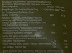 Chips de betterave, panais et carotte au sel de mer - Informations nutritionnelles