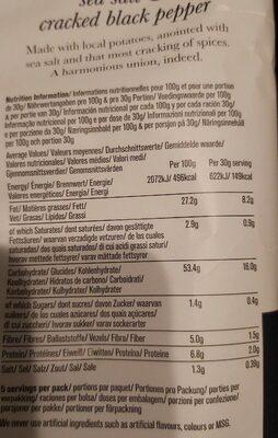 Chips aux sel de mer et poivre noir - Informations nutritionnelles - fr