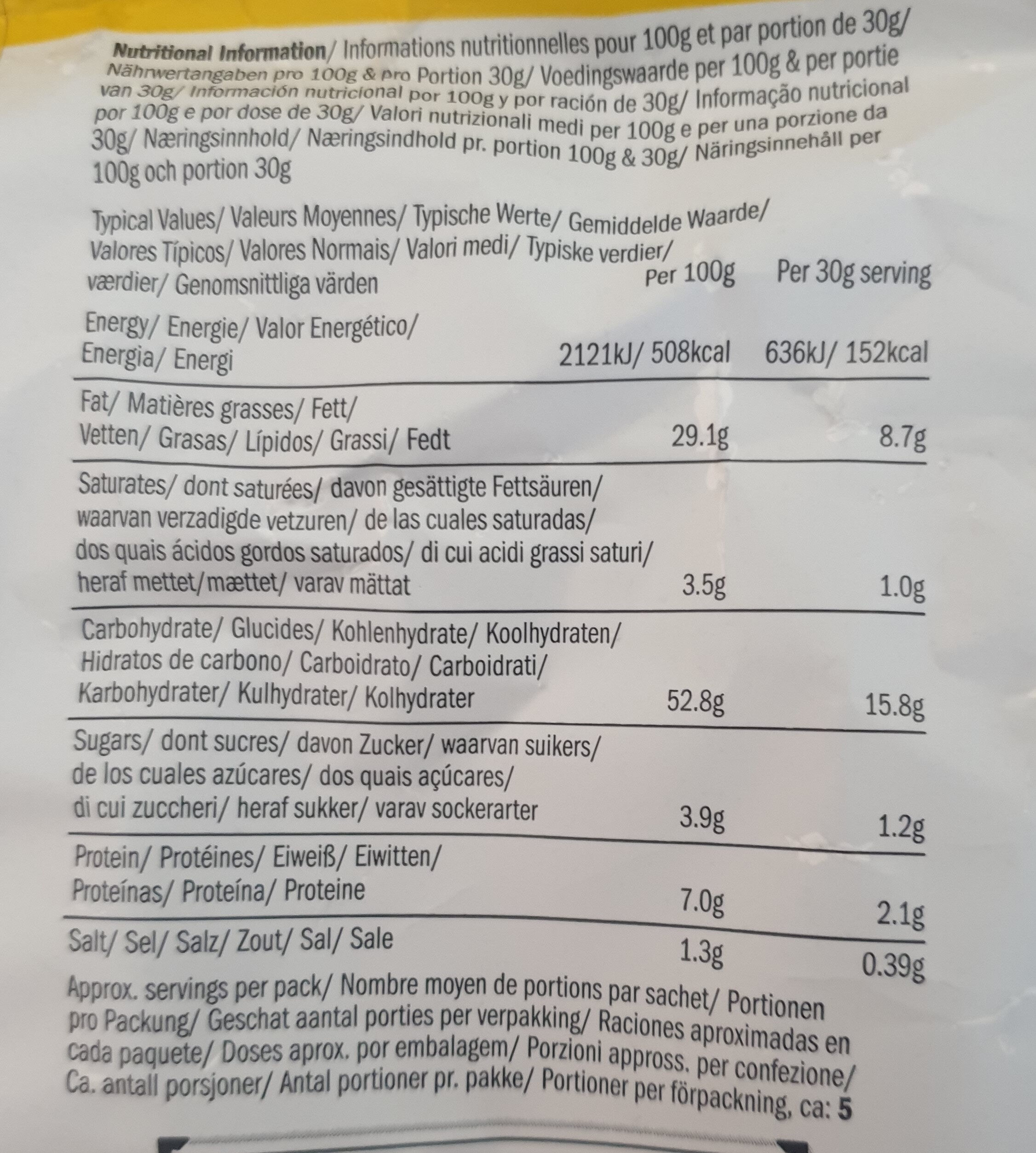 Hand-Cooked English Crisps Mature Cheddar & Chive - Nutrition facts - en
