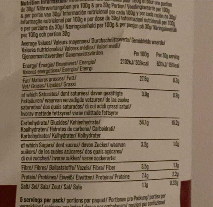 Hand-Cooked English Crisps Smoked Paprika - Nutrition facts - de