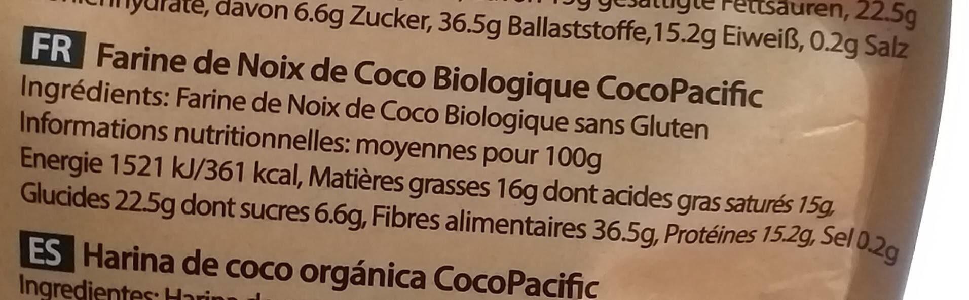 Farine de noix de coco - Informations nutritionnelles - fr