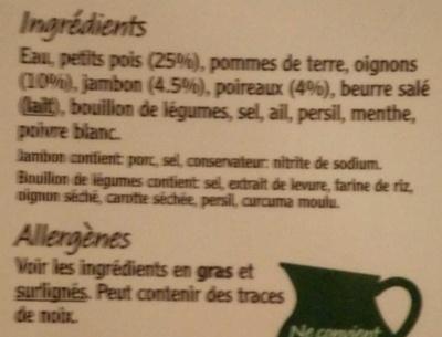 Petits Pois, Jambon & Poireau - Ingredients