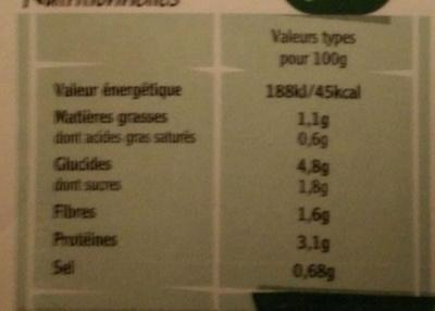 Petits Pois, Jambon & Poireau - Nutrition facts