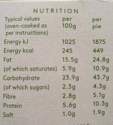 2 Vegetarian Country Pies - Nutrition facts - en