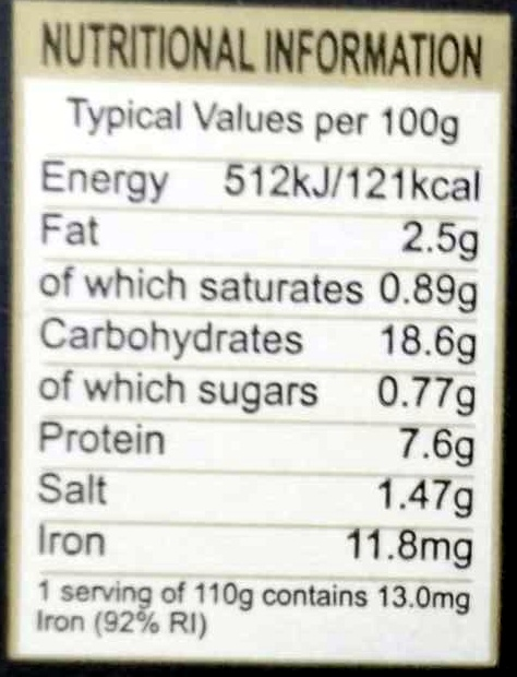 4 traditional Black Pudding slices - Informations nutritionnelles