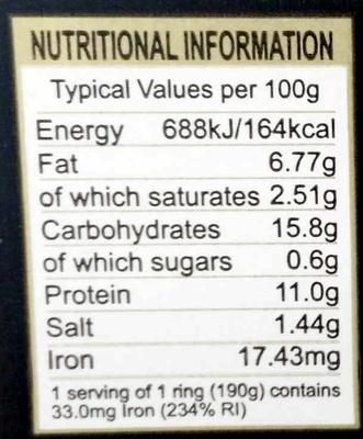 Traditional Bury Black Pudding - Informations nutritionnelles - en