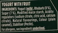 Activia rhubarbe - Ingredients