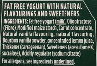 Activia 0% Fat Vanilla Yogur - Ingrédients - fr