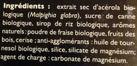 Acérola bio 1470 vitamine C origine naturelle - Ingrédients - fr