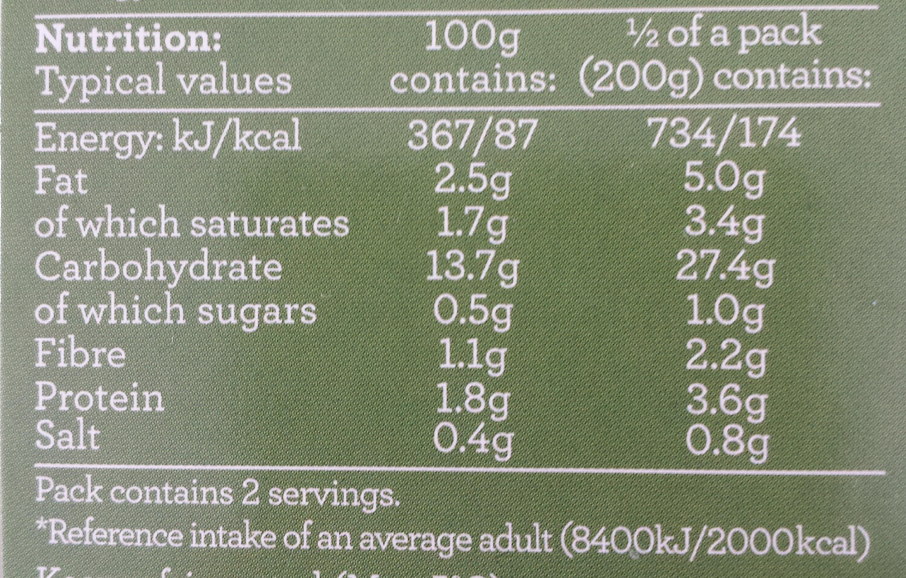Mashed Potato - Informations nutritionnelles