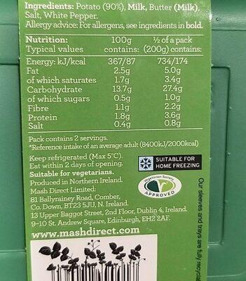 Mashed Potato - Informations nutritionnelles - en