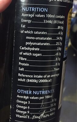 Extra virgin cold pressed rapeseed oil - Valori nutrizionali - en