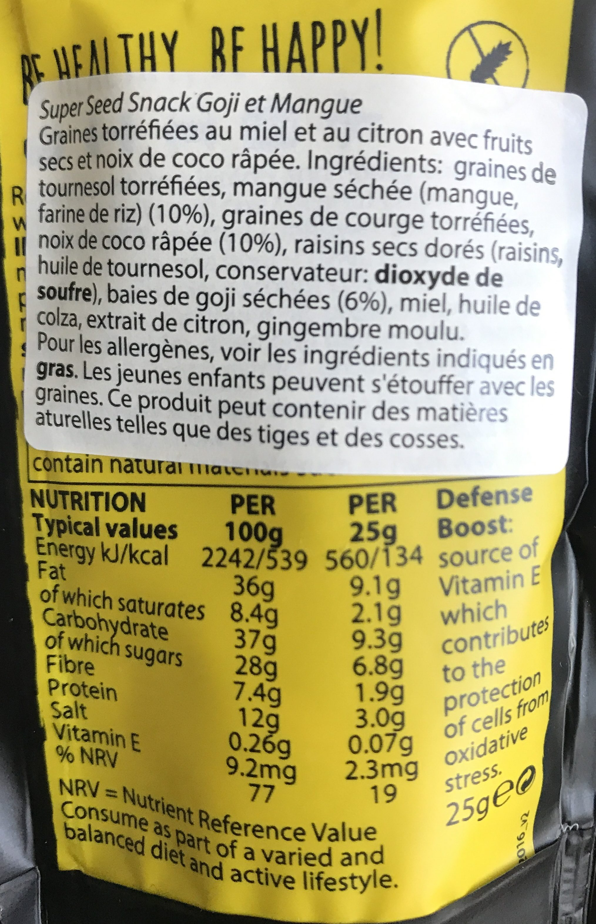Good4u Super Seed Goji / Mango Snack - Ingredients