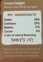 Nakd Cocoa Delight Bars 4 Pack - Ingredients - en
