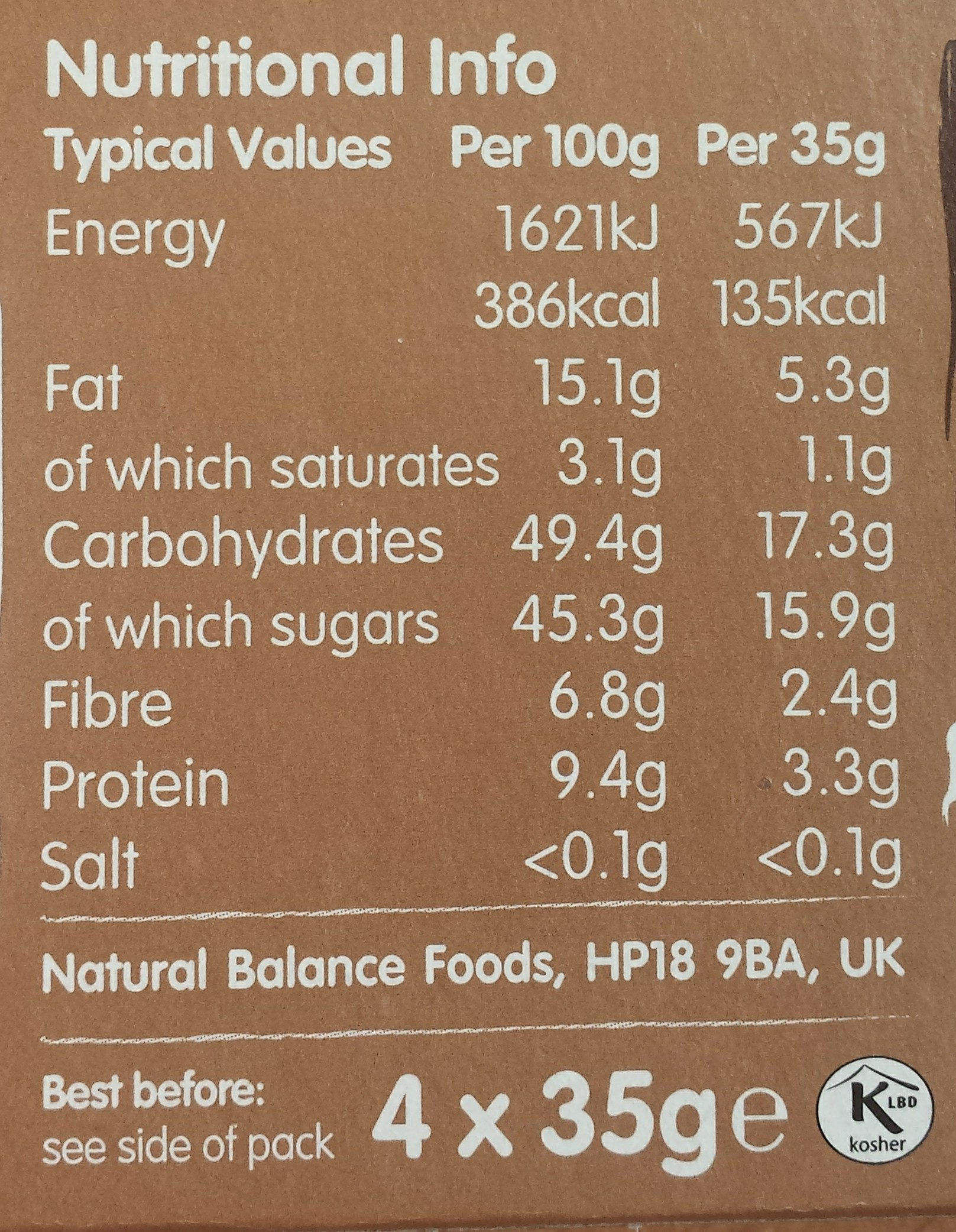 Nakd Cocoa Delight Bars 4 Pack - Nutrition facts - en