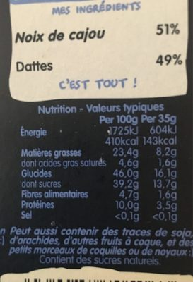 Cashew Cookie - Nutrition facts
