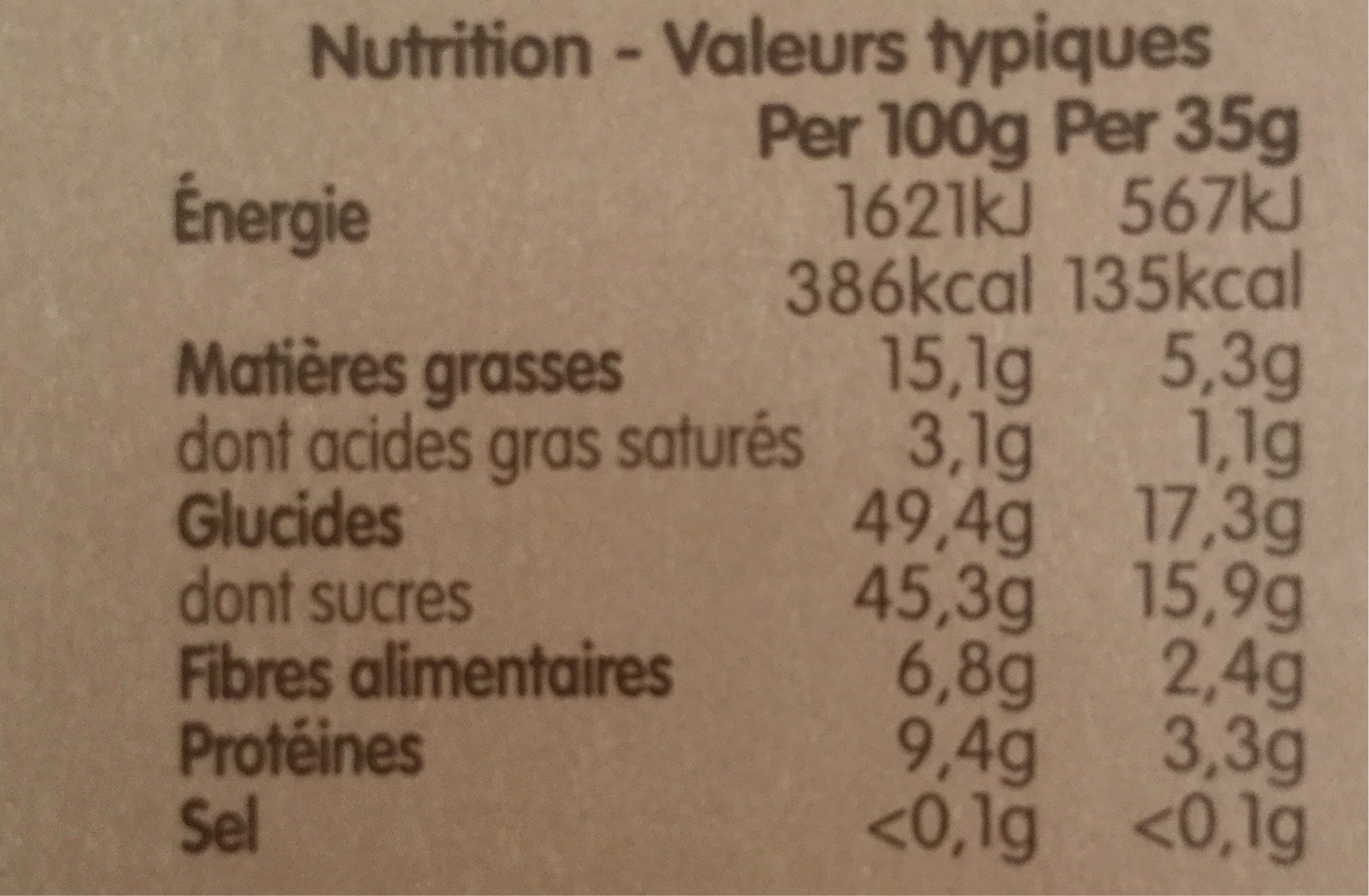 Cacao Delight Repen - Nutrition facts