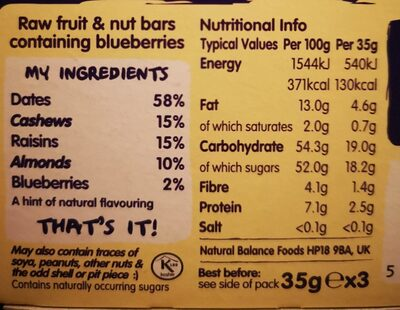 nākd. Blueberry Muffin - Nutrition facts