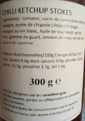 Stokes Spicy Tomato Ketchup Gluten Free 300G - Ingrédients