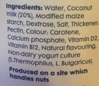 Koko Dairy Free Original Plain Yoghurt - Ingredients - el