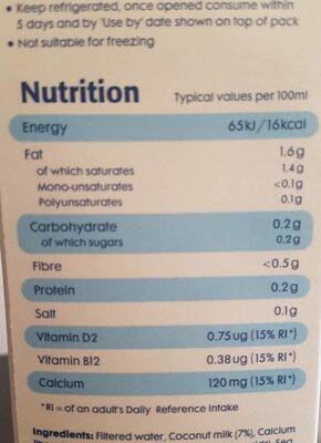 Koko dairy free - Voedigswaarden