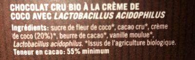 Ombar crème de coco cacao d'Equateur 100% bio - Ingrédients