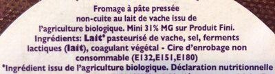 Godminster Vintage Organic Cheddar Truckle - Ingrédients - fr