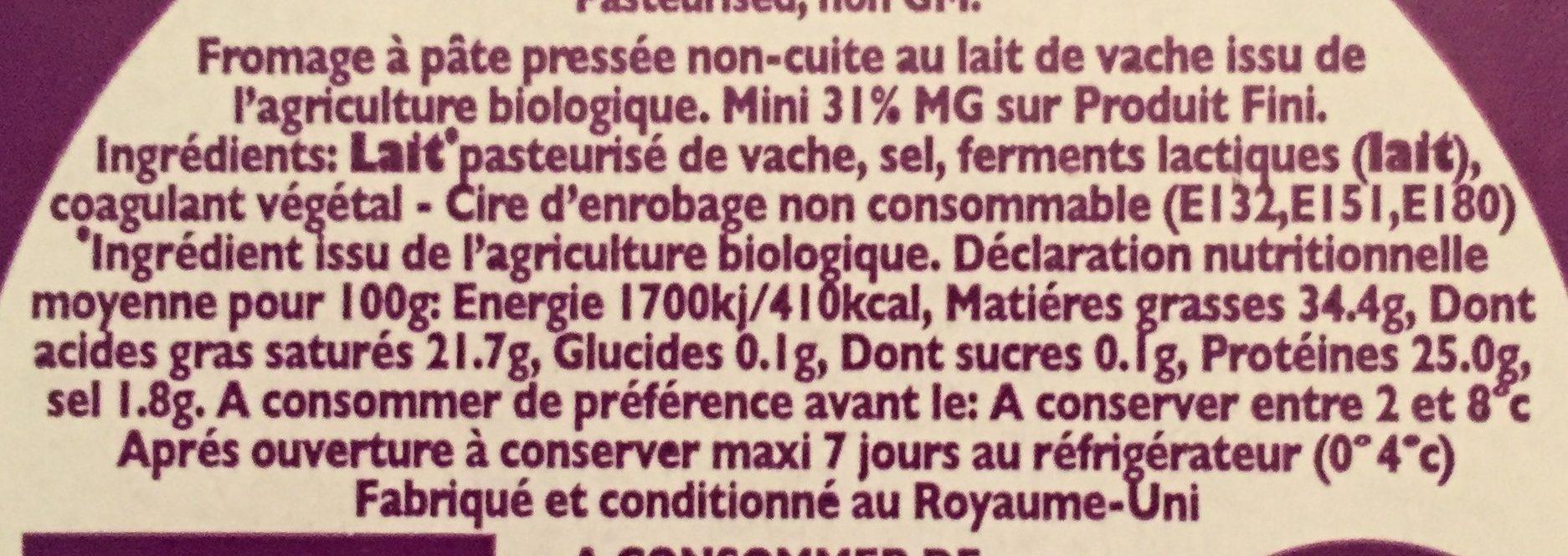 Godminster cheddar bio - Ingrédients - fr