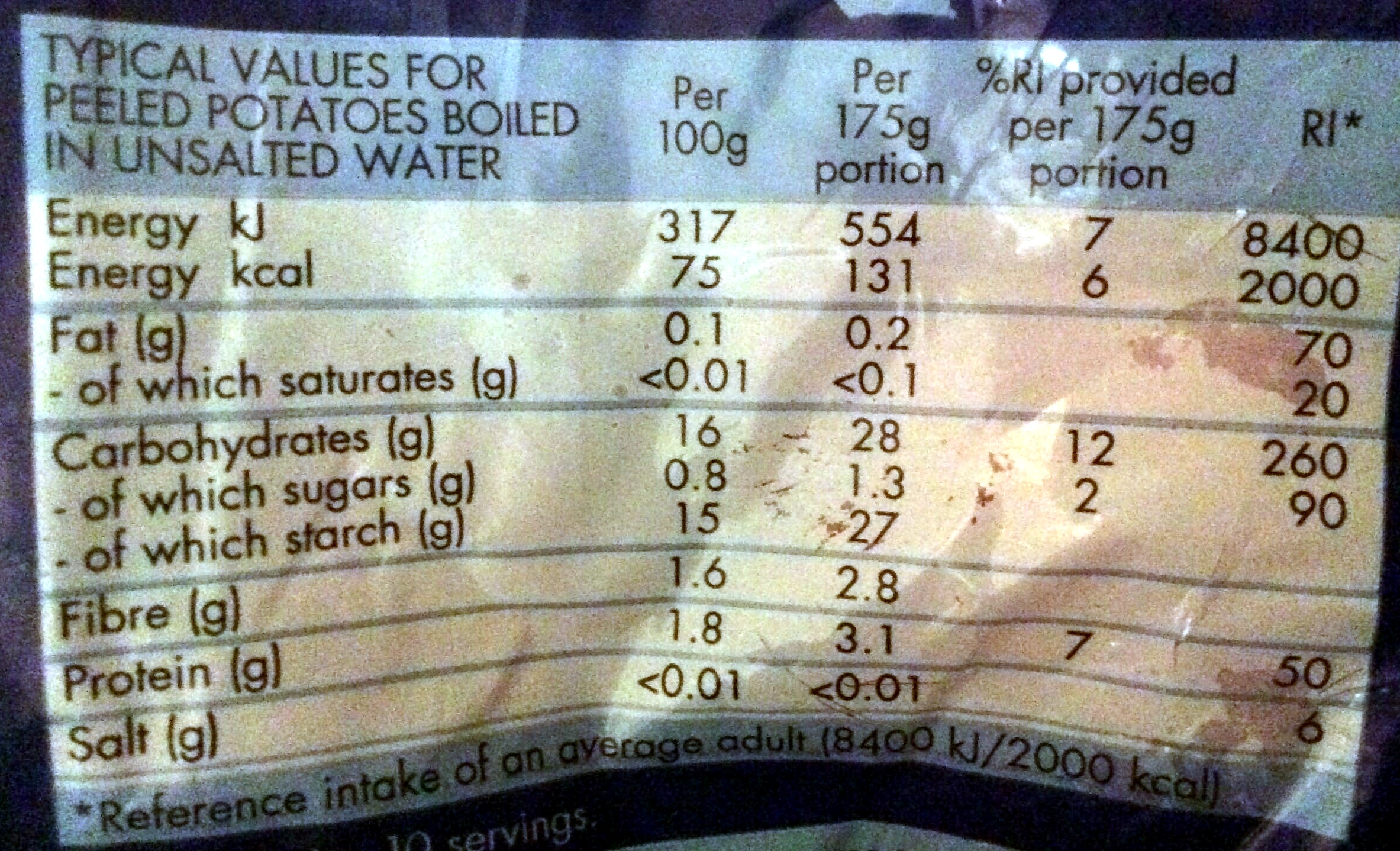 Rooster potatoes - Nutrition facts - en