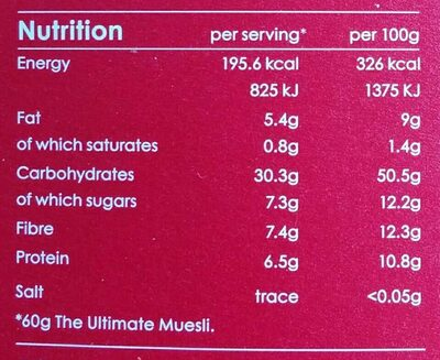 The Ultimate Muesli - Nutrition facts