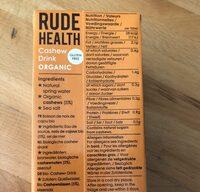 Bebida De Anacardos Sin Cereales Rude Health - Ingredients - fr