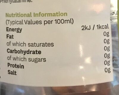 Forest fruits flavoured water - Nutrition facts - en