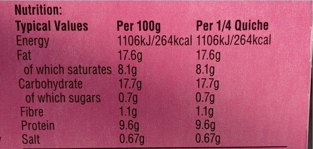 Smoked English Bacon Quiche - Nutrition facts - en