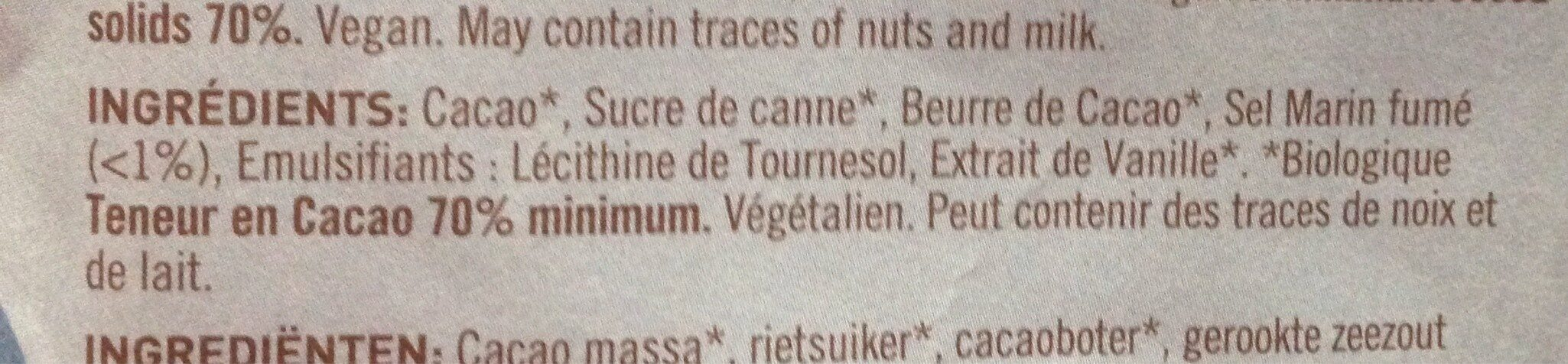 Chokolade MøRK 70% Cornish Sea Salt Ø - 85 GR - Naturesource - Ingredients - fr