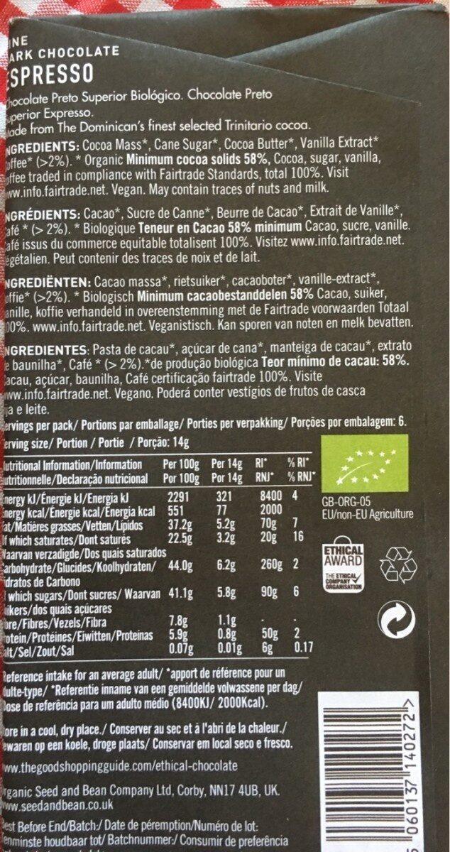 Organic extra dark chocolate, espresso - Nutrition facts - en