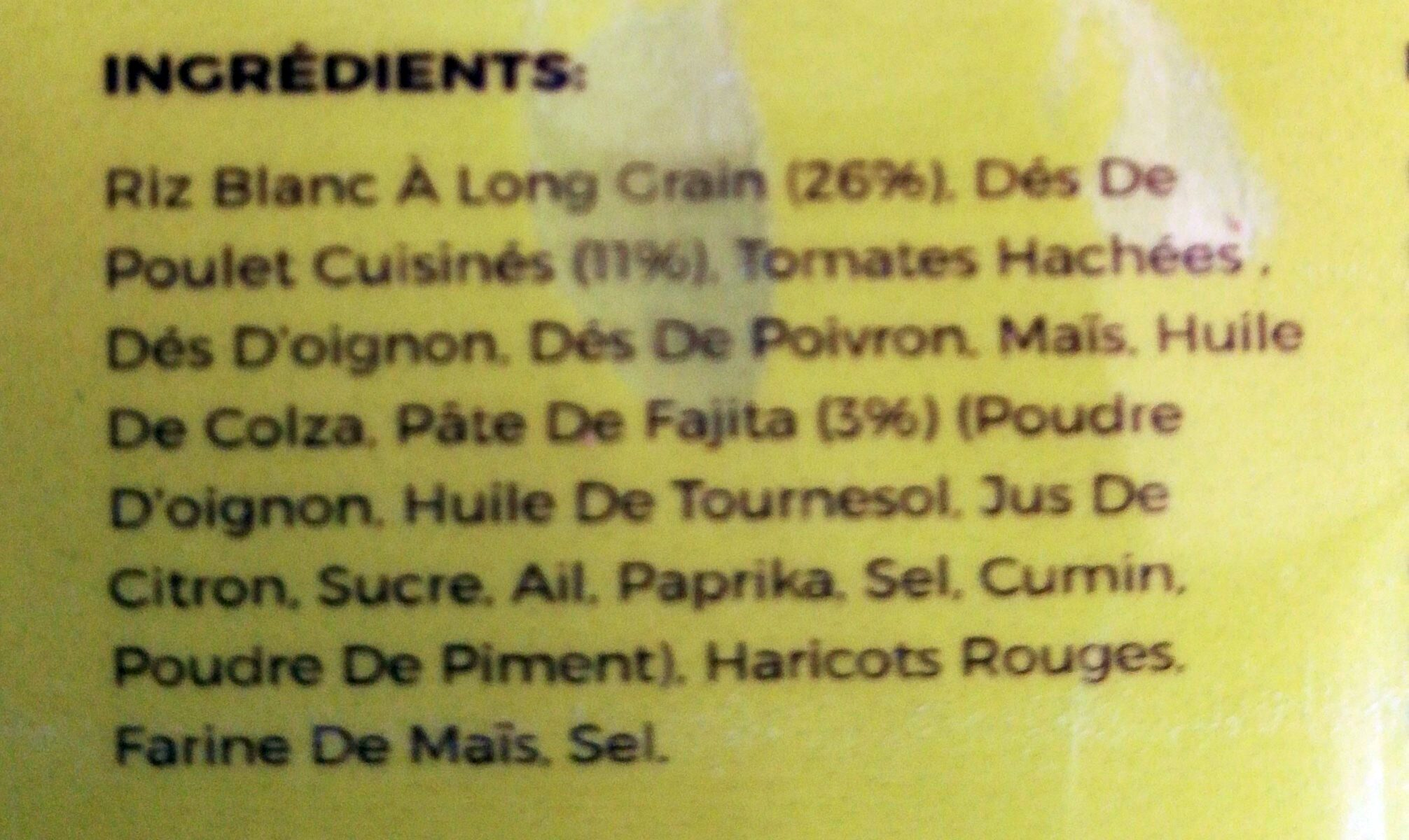 Chicken fajita with rice - Ingredients