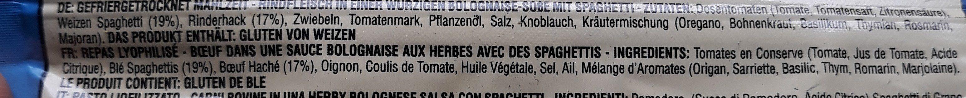 Spaghetti Bolognaise - Lyophilisé - Ingrédients