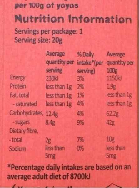 Real Fruit Yo Yos - Strawberry - Nutrition facts - en
