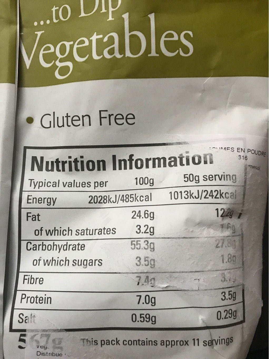Dippers - Nutrition facts